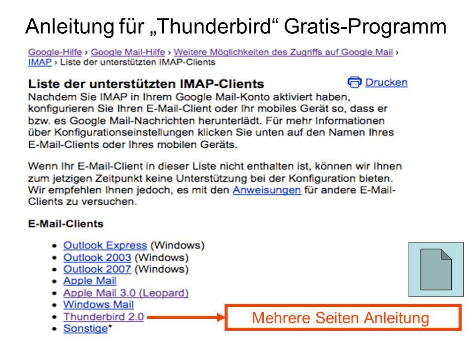 """Anleitung für """"Thunderbird Gratis-Programm"""