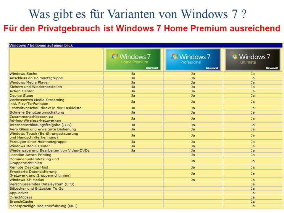 Für den Privatgebrauch ist Windows 7 Home Premium ausreichend