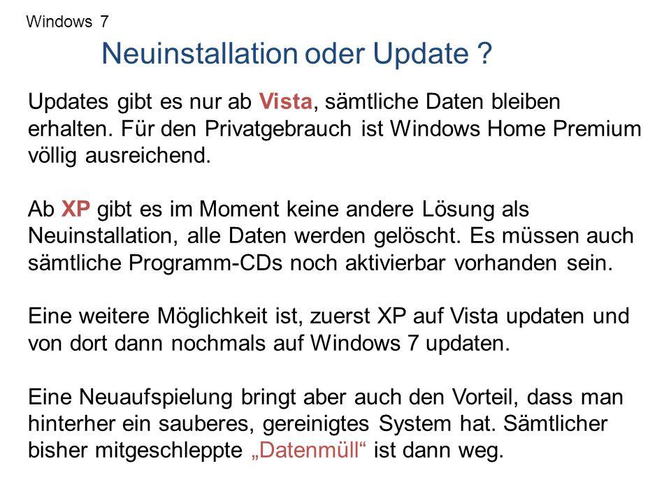 Neuinstallation oder Update