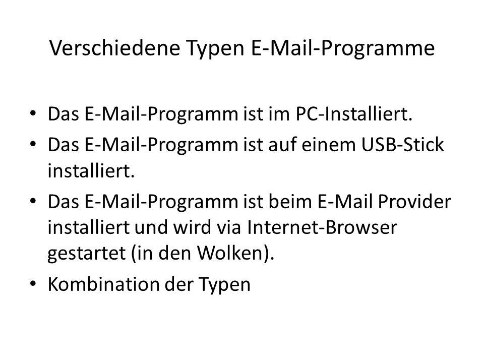 Verschiedene Typen E-Mail-Programme