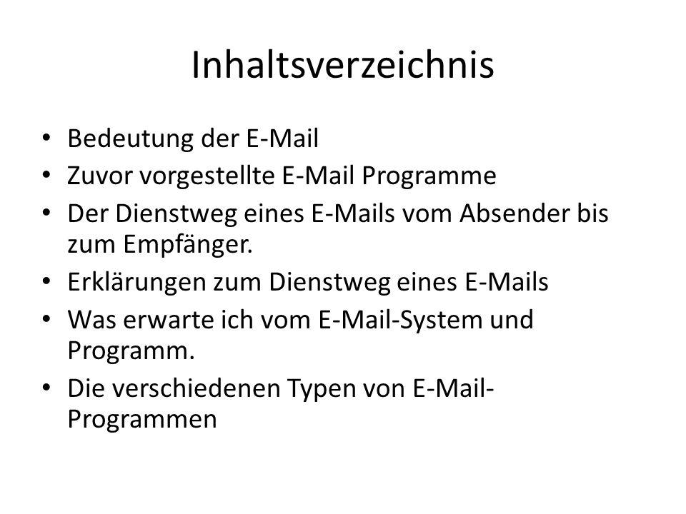 Inhaltsverzeichnis Bedeutung der E-Mail