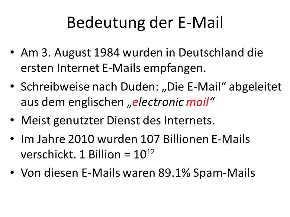 Bedeutung der E-Mail Am 3. August 1984 wurden in Deutschland die ersten Internet E-Mails empfangen.
