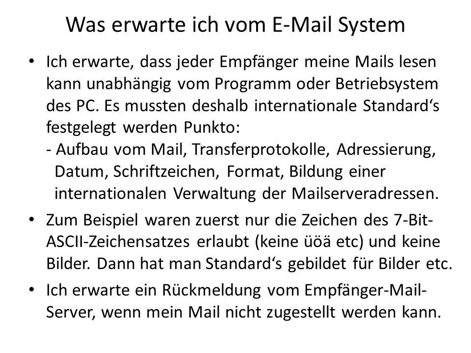 Was erwarte ich vom E-Mail System