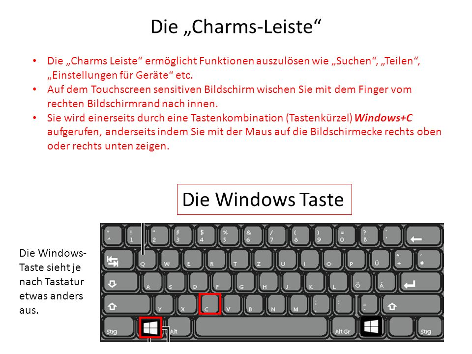 "Die ""Charms-Leiste Die Windows Taste"