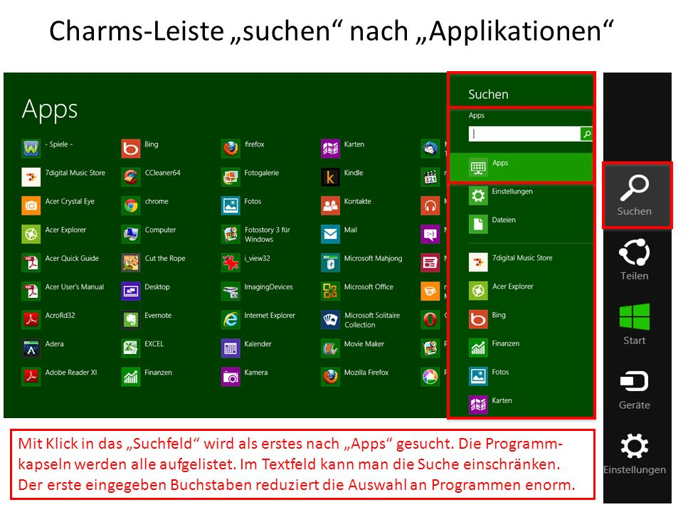 "Charms-Leiste ""suchen nach ""Applikationen"