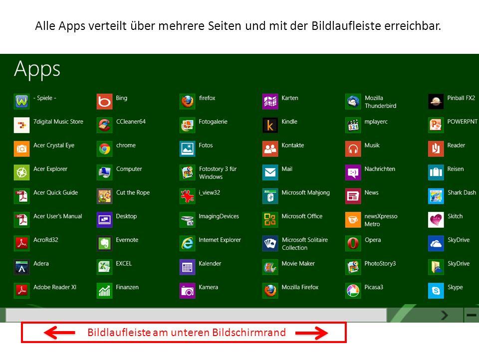 Alle Apps verteilt über mehrere Seiten und mit der Bildlaufleiste erreichbar.