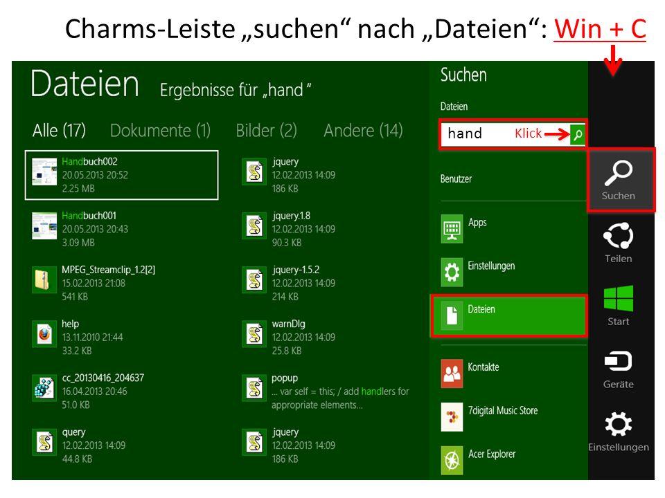 """Charms-Leiste """"suchen nach """"Dateien : Win + C"""