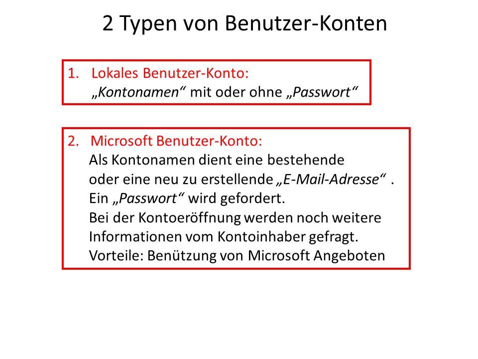 2 Typen von Benutzer-Konten