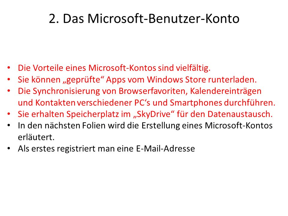 2. Das Microsoft-Benutzer-Konto