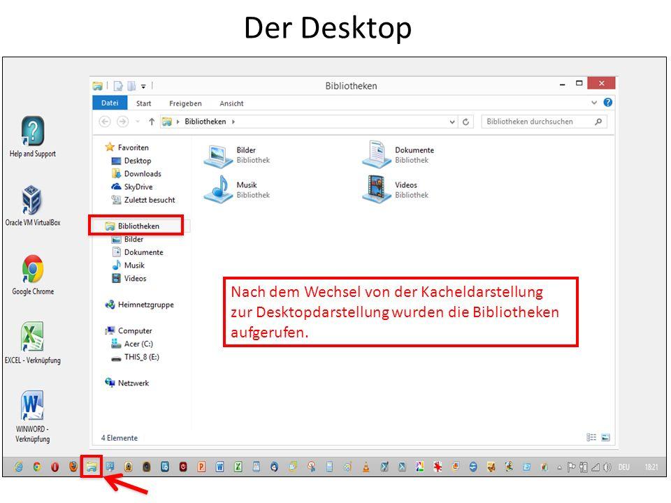 Der Desktop Nach dem Wechsel von der Kacheldarstellung