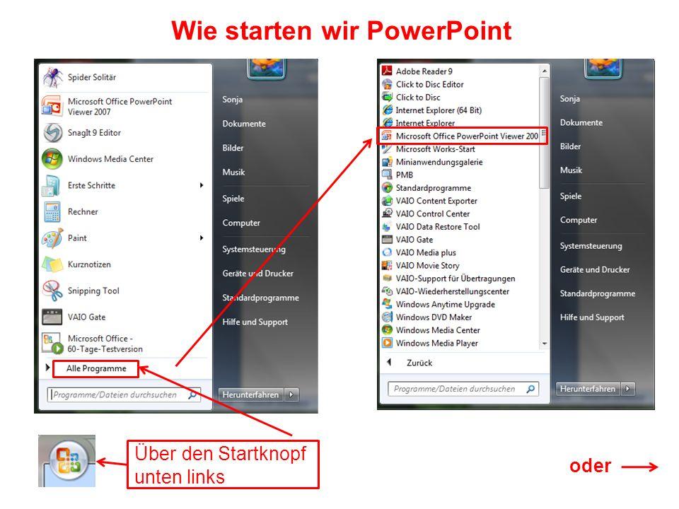Wie starten wir PowerPoint