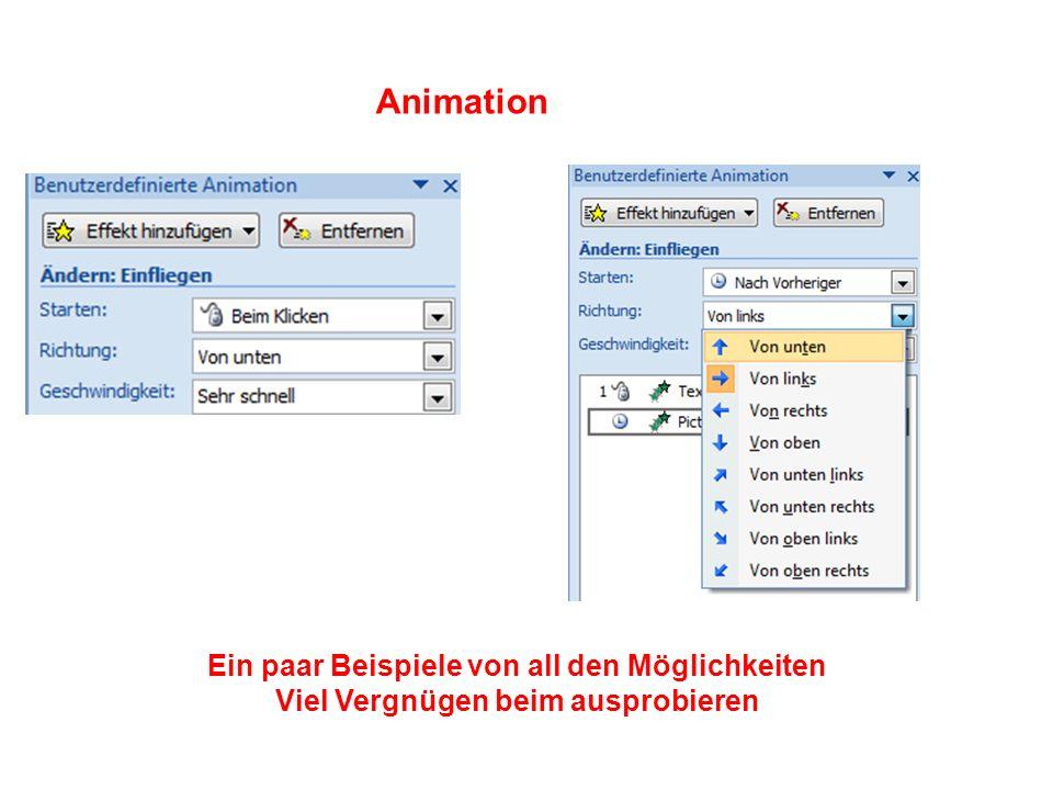 Animation Ein paar Beispiele von all den Möglichkeiten