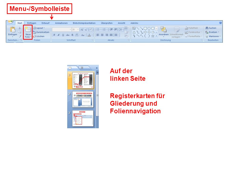 Menu-/Symbolleiste Auf der linken Seite Registerkarten für Gliederung und Foliennavigation