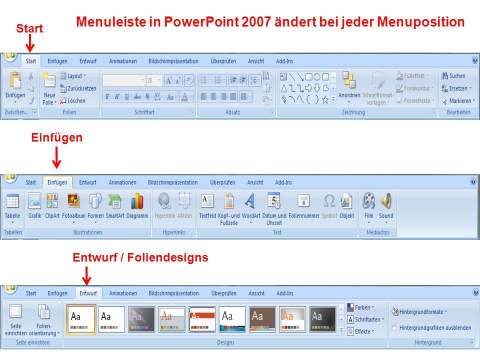 Menuleiste in PowerPoint 2007 ändert bei jeder Menuposition