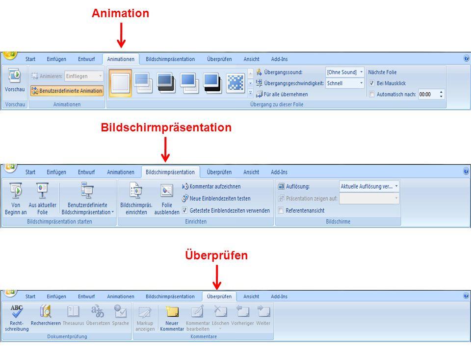 Animation Bildschirmpräsentation Überprüfen