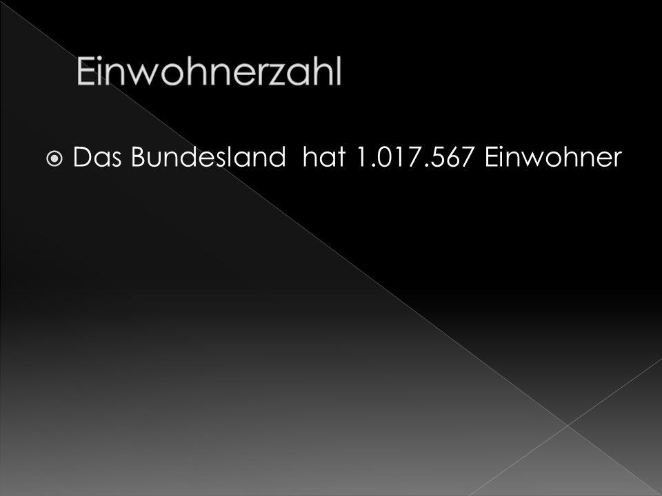 Einwohnerzahl Das Bundesland hat 1.017.567 Einwohner