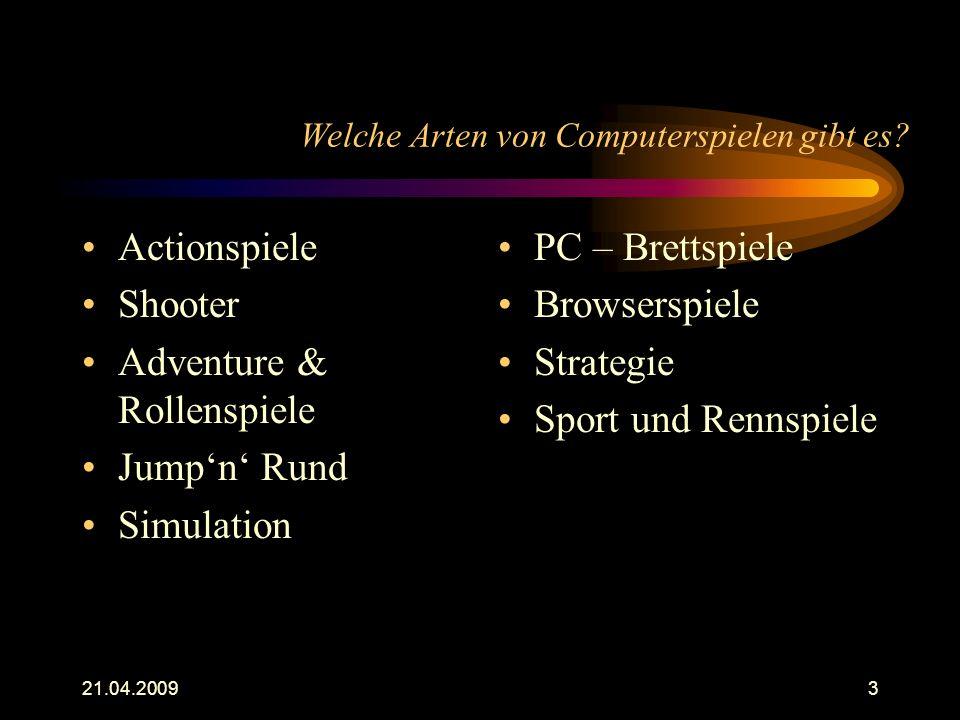 Welche Arten von Computerspielen gibt es