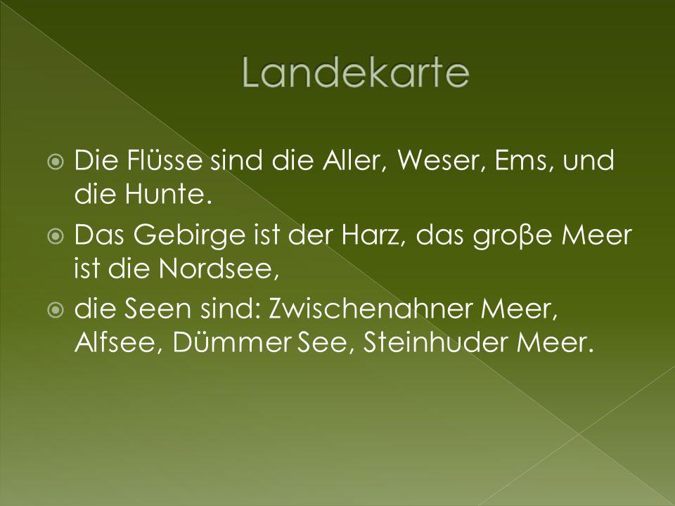 Landekarte Die Flüsse sind die Aller, Weser, Ems, und die Hunte.