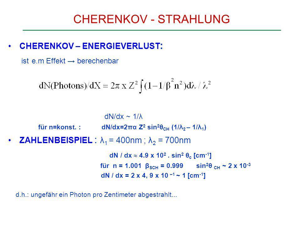 CHERENKOV - STRAHLUNG ist e.m Effekt → berechenbar dN/dx ~ 1/λ