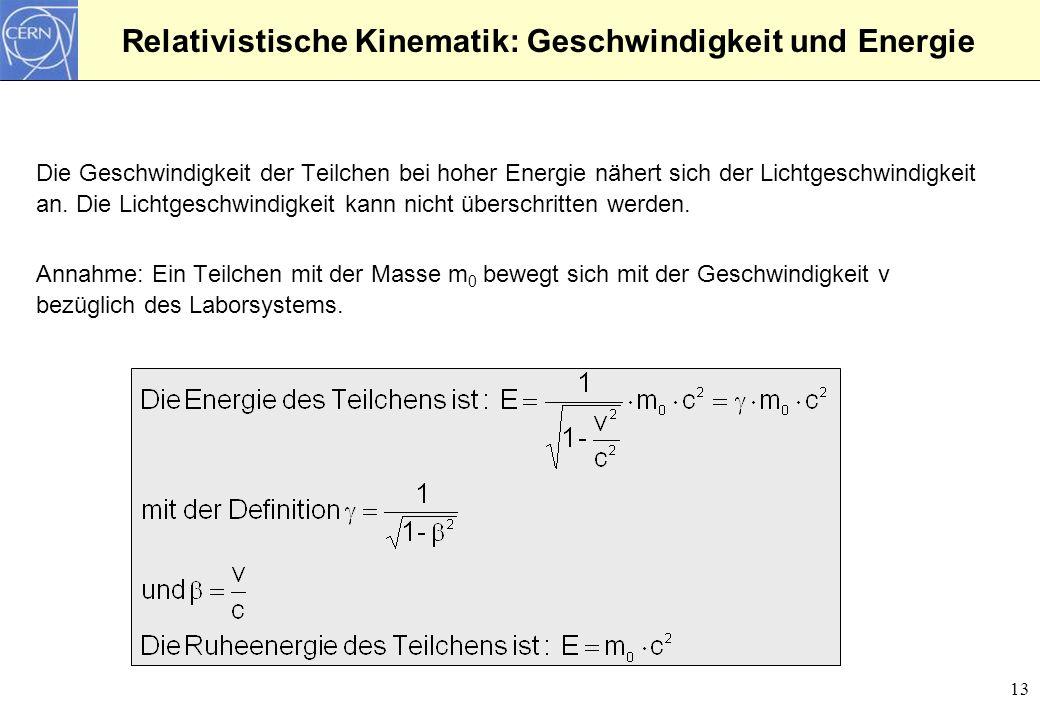 Relativistische Kinematik: Geschwindigkeit und Energie