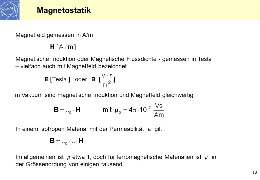 Magnetostatik Magnetfeld gemessen in A/m