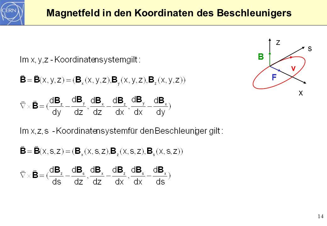 Magnetfeld in den Koordinaten des Beschleunigers