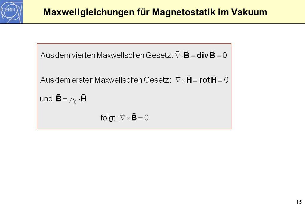 Maxwellgleichungen für Magnetostatik im Vakuum