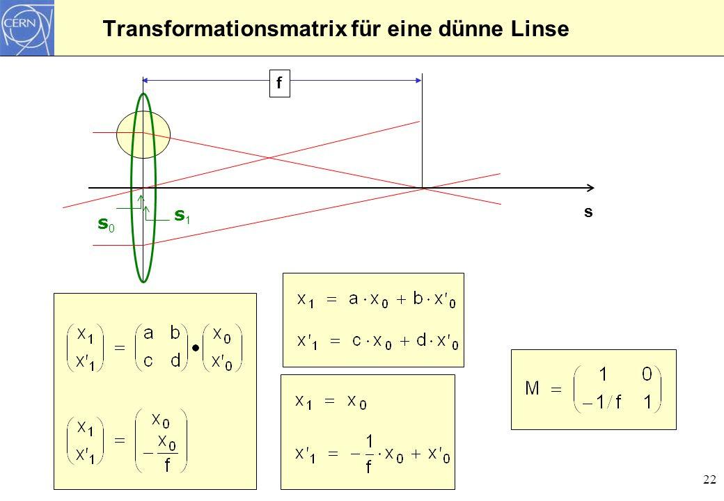Transformationsmatrix für eine dünne Linse