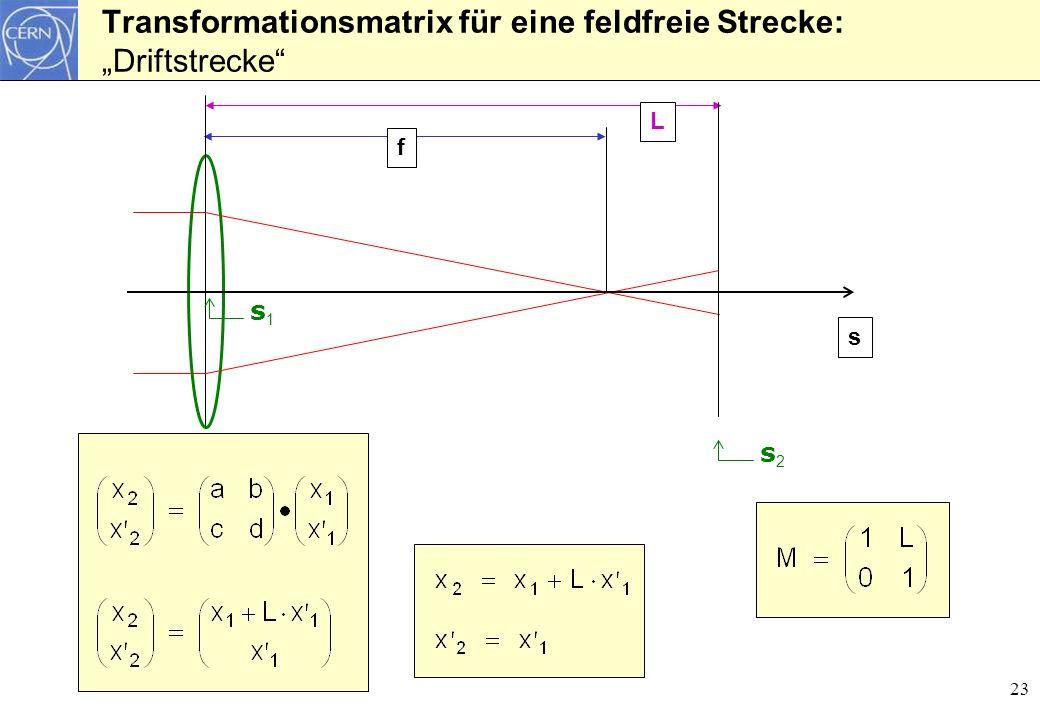 """Transformationsmatrix für eine feldfreie Strecke: """"Driftstrecke"""