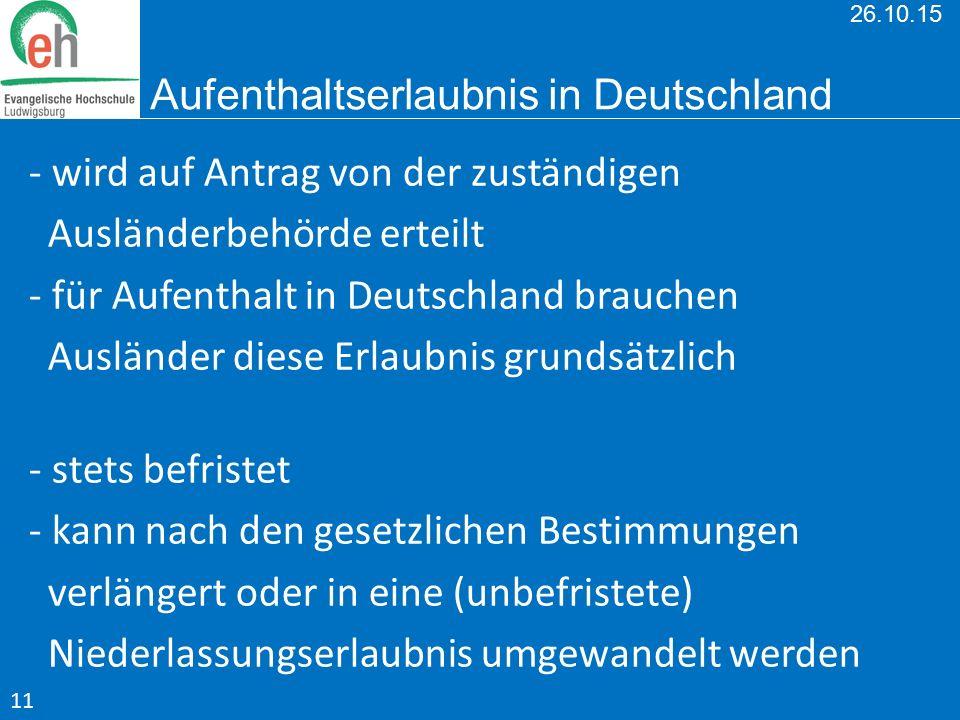 26.10.15 Aufenthaltserlaubnis in Deutschland