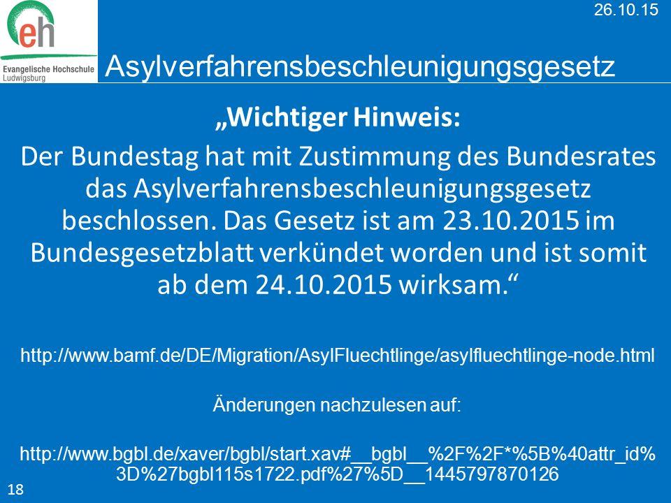 26.10.15 Asylverfahrensbeschleunigungsgesetz