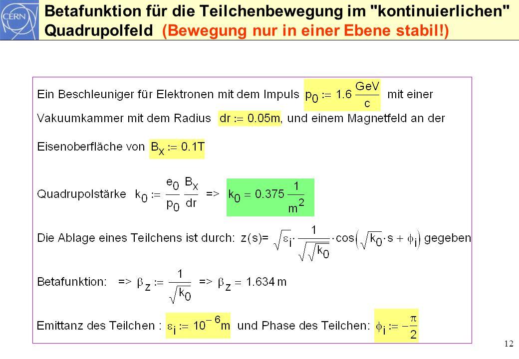 Betafunktion für die Teilchenbewegung im kontinuierlichen Quadrupolfeld (Bewegung nur in einer Ebene stabil!)