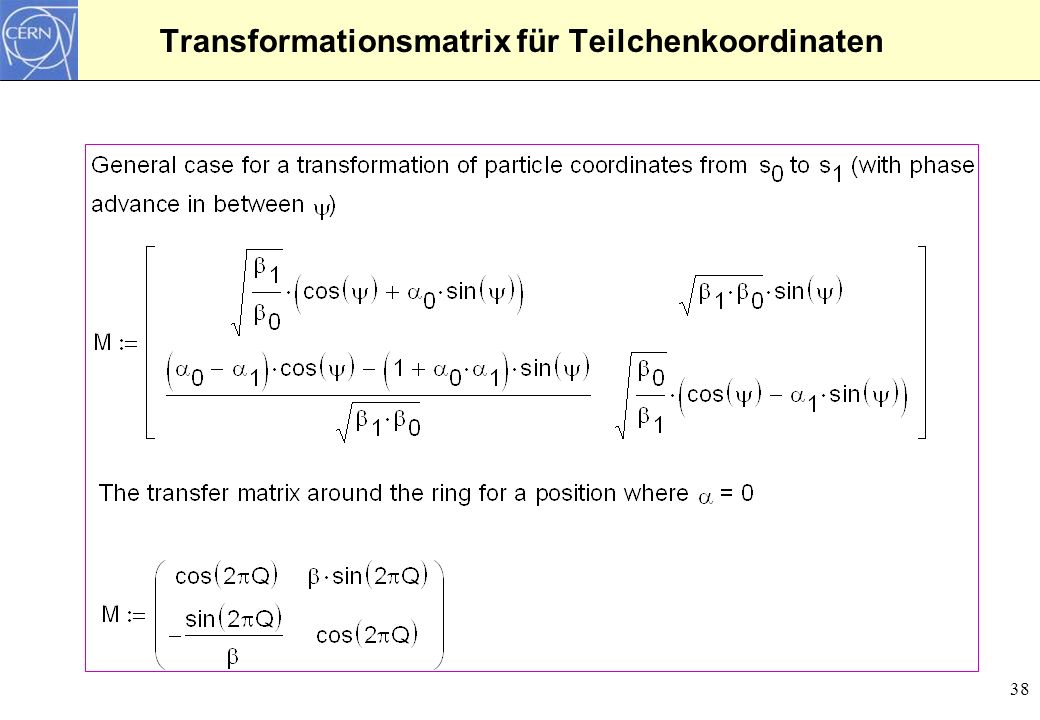 Transformationsmatrix für Teilchenkoordinaten
