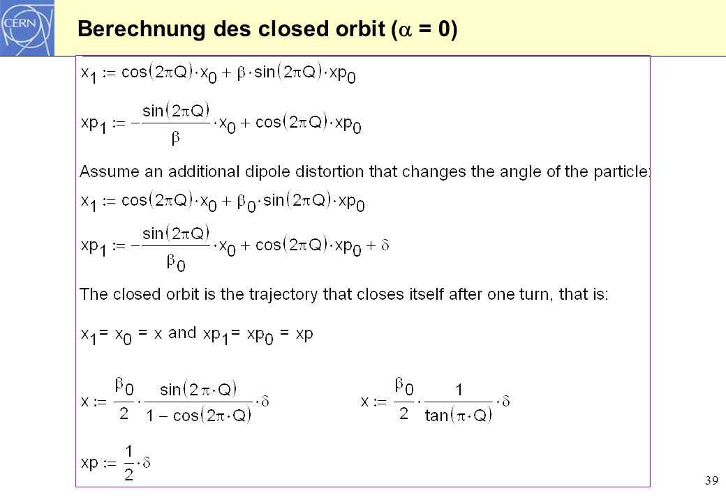 Berechnung des closed orbit ( = 0)