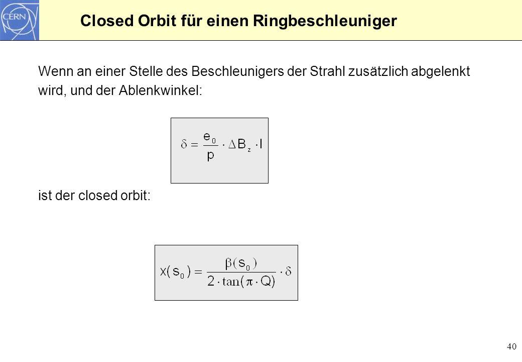 Closed Orbit für einen Ringbeschleuniger