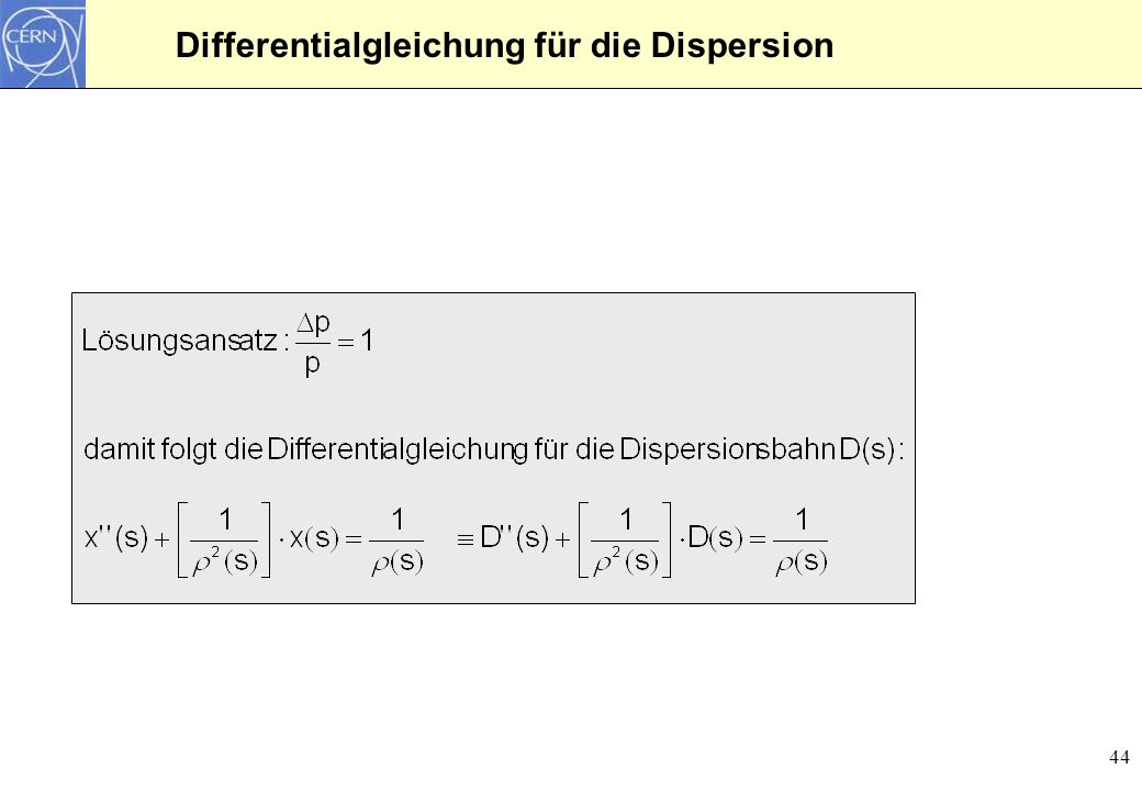 Differentialgleichung für die Dispersion