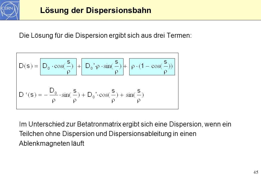 Lösung der Dispersionsbahn
