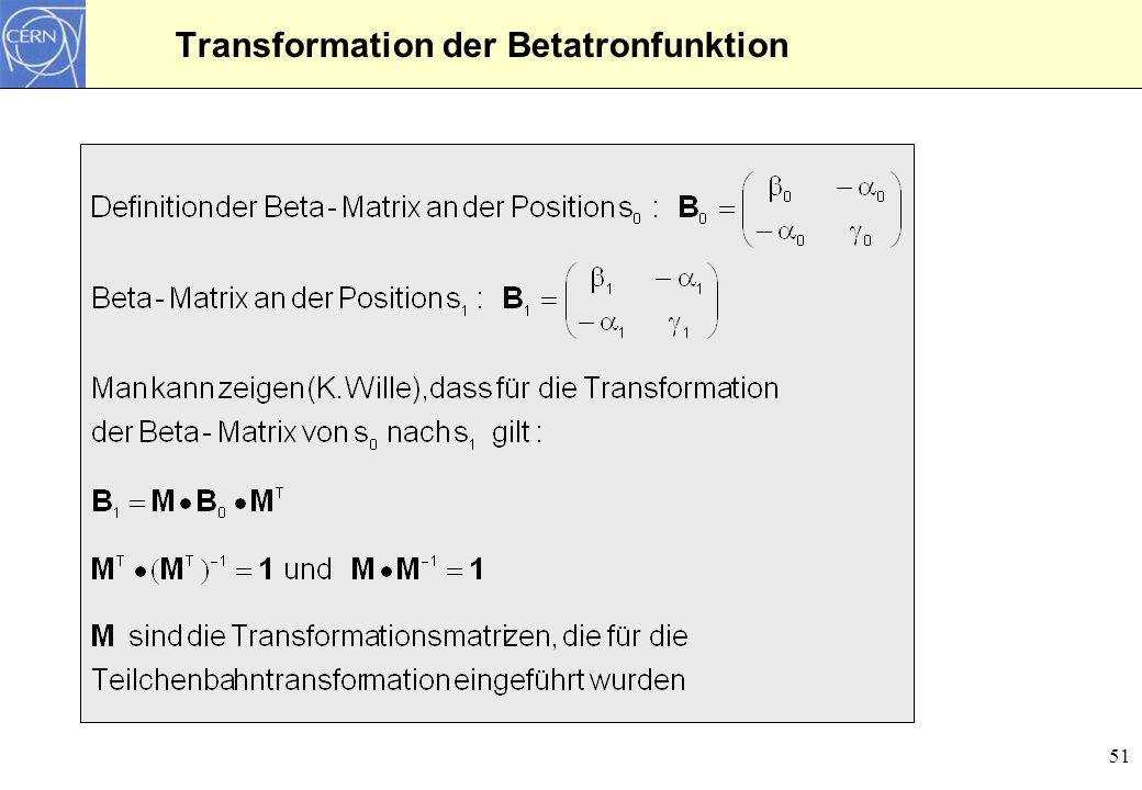 Transformation der Betatronfunktion