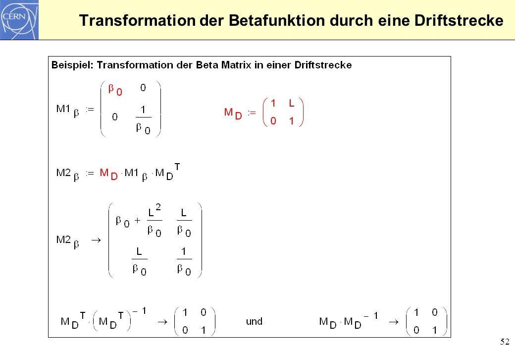 Transformation der Betafunktion durch eine Driftstrecke