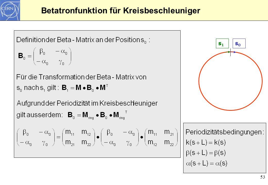 Betatronfunktion für Kreisbeschleuniger