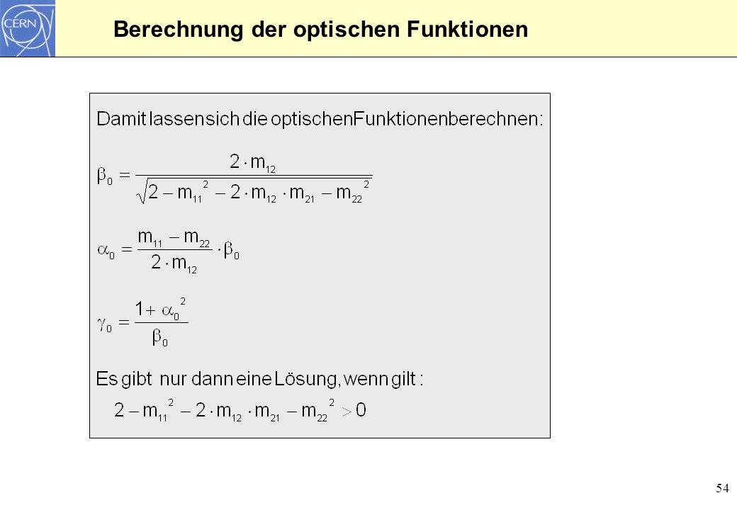Berechnung der optischen Funktionen
