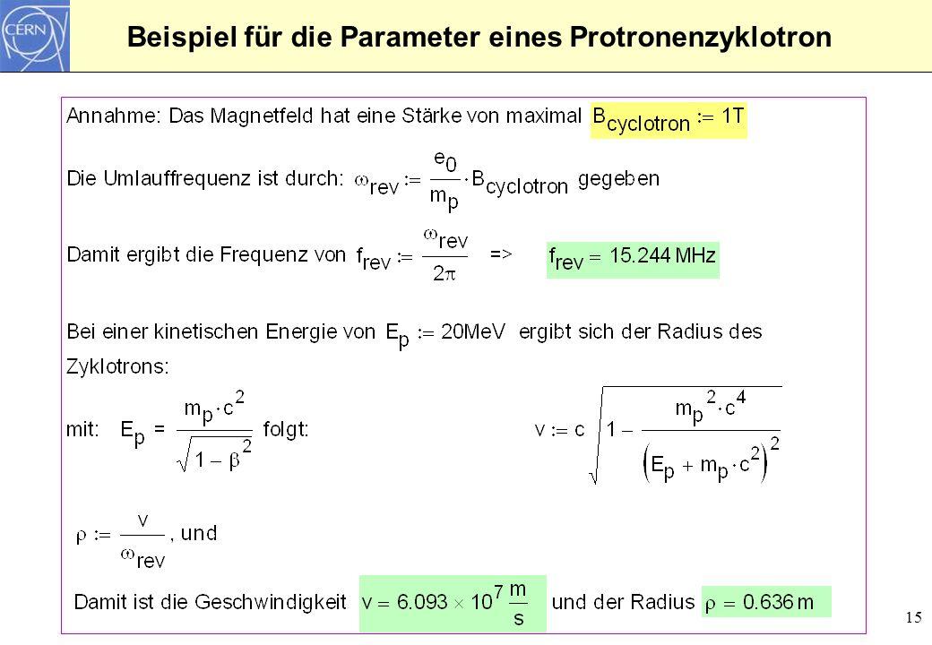Beispiel für die Parameter eines Protronenzyklotron