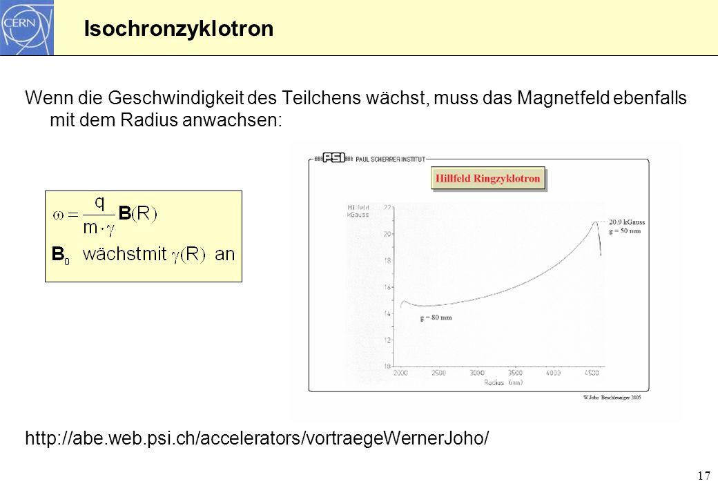 Isochronzyklotron Wenn die Geschwindigkeit des Teilchens wächst, muss das Magnetfeld ebenfalls mit dem Radius anwachsen: