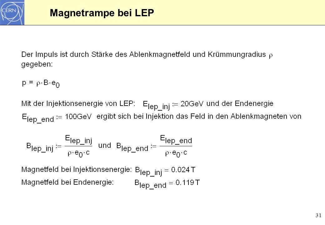 Magnetrampe bei LEP