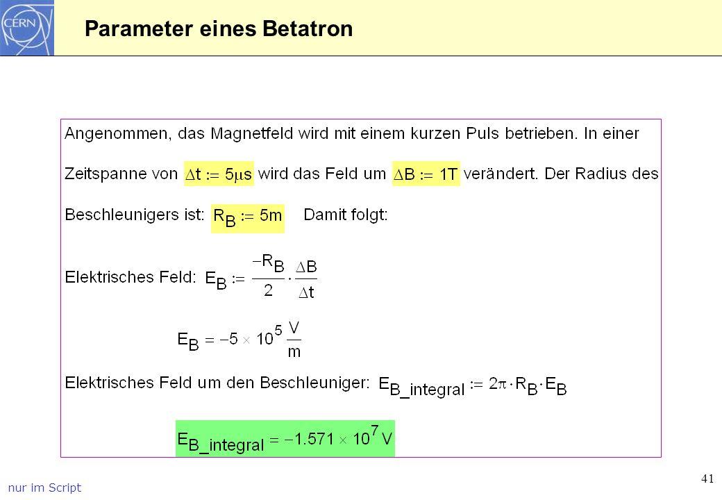 Parameter eines Betatron