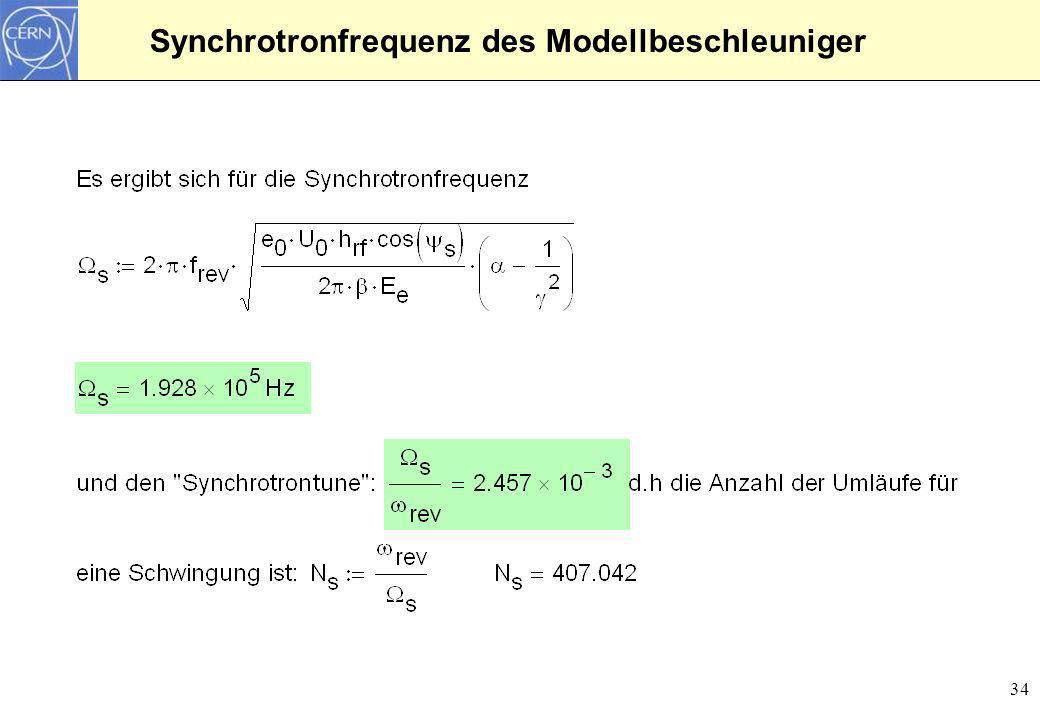Synchrotronfrequenz des Modellbeschleuniger