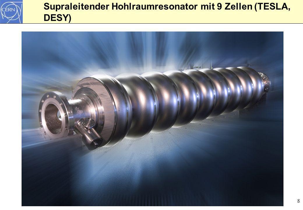 Supraleitender Hohlraumresonator mit 9 Zellen (TESLA, DESY)