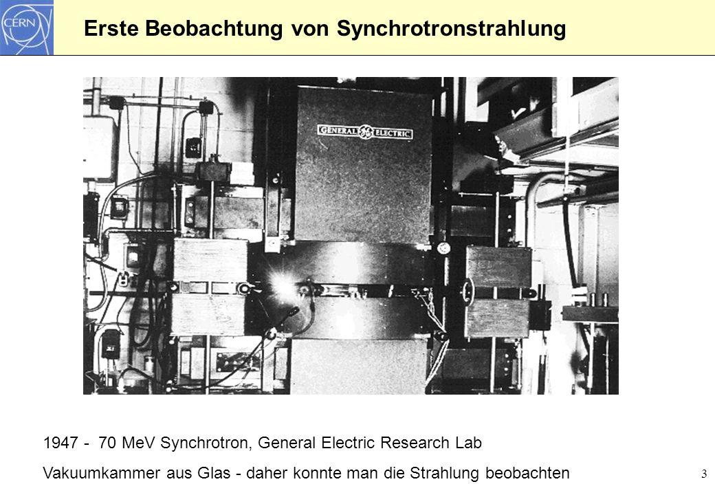 Erste Beobachtung von Synchrotronstrahlung