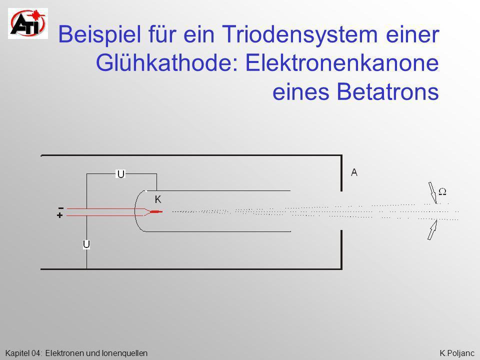 Beispiel für ein Triodensystem einer Glühkathode: Elektronenkanone eines Betatrons