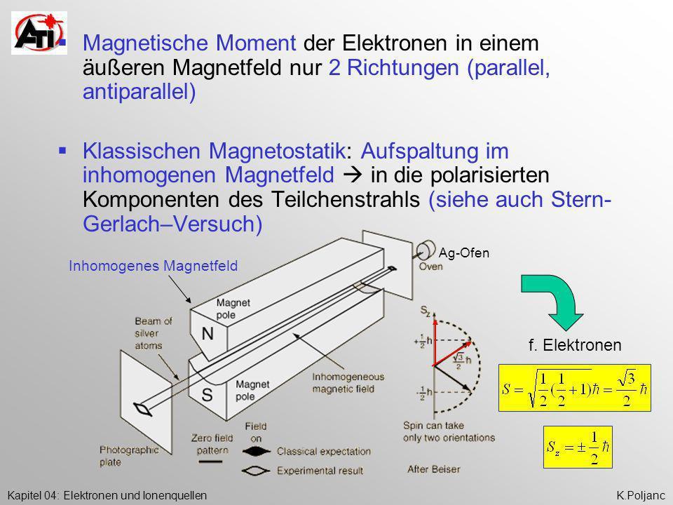 Magnetische Moment der Elektronen in einem äußeren Magnetfeld nur 2 Richtungen (parallel, antiparallel)